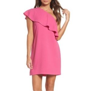 Charles Henry one shoulder ruffle dress